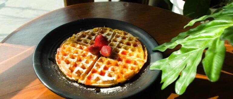 Vegan Vanilla Waffles with Rhubarb Compote